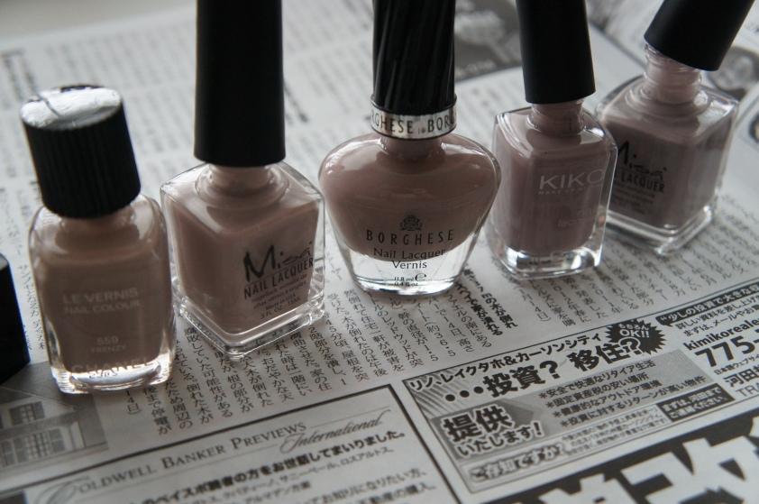 Chanel Frenzy, Misa Pay Days Are Happy Days, Borghese Arrivederci Mist, Kiko 319 Tortora Chiaro, Misa Paint My Nails @ Work