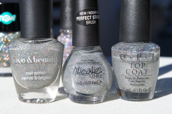 F21 Love & Beauty Silver, NOPI Make A Comet-ment, OPI Paris Couture for Sure Glitter Top Coat