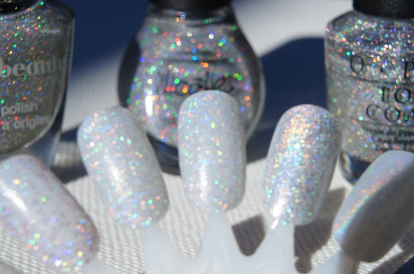 L to R:  F21 Love & Beauty Silver, NOPI Make A Comet-ment, OPI Paris Couture for Sure Glitter Top Coat