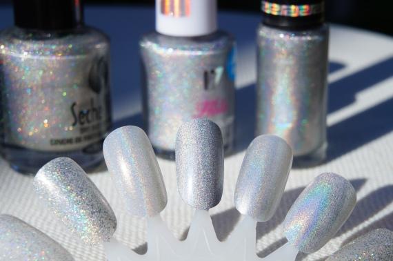 L to R:  alelvi123's silver holo top coat, 17 Holo Silver, Hits No Olimpo Artemis