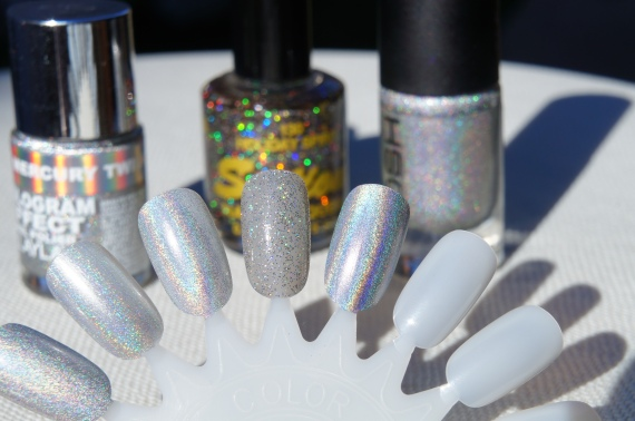 L to R:  Layla Mercury Twilight, Sation Holiday Spirit, GOSH Holographic