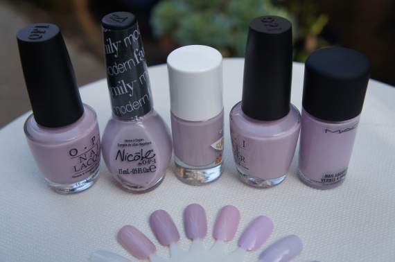 L to R:  Steady As She Rose, Am I Making Myself Claire?, Hang Loose, Panda-monium Pink, Little Girl Type