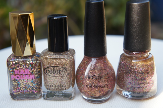 L to R: H&M Confetti Time, Gingerbread, A Gold Winter's Night, Pop A Bottle
