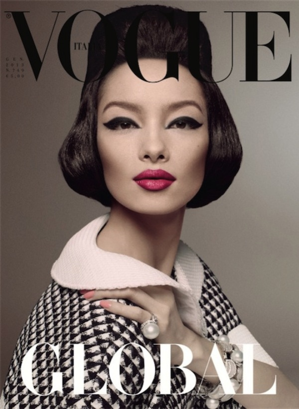 Vogue Italia cover, January 2013.  Model is FeiFei Sun.  Yes, Zoya named that varnish after her!