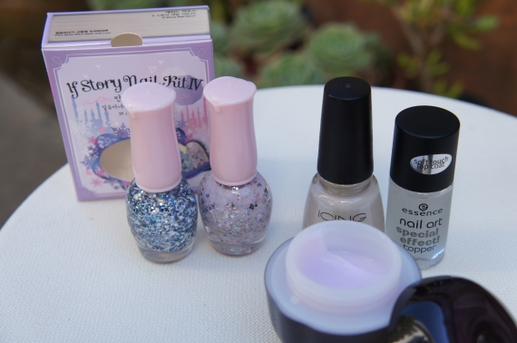 Products used for today's mani include Icing by Claire's Posh Princess, Essence Nail Art Special Effect Topper 07 Soft Touch, The Face Shop Hand Cream (blueberry!)...