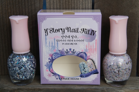 Etude House If Story Nail Kit IV, If the White Witch Melts with Love.  Left, No.1 If the White Witch.  Right, No. 2 Melts With Love.